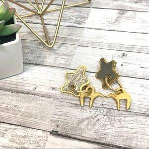 Anthropologie | Gold Star Animal Hoop Earrings